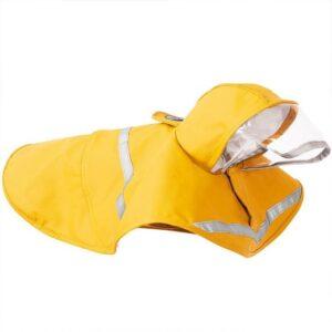 Doegly Waterproof regenjas - poncho voor honden met reflector - GEEL - EXTRA SMALL (XS)