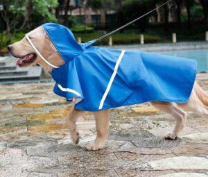 Doegly Waterproof regenjas - poncho voor honden met reflector - MEDIUM - BLAUW