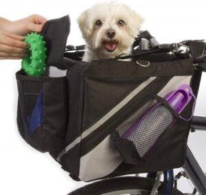 Dogs&Co Fietsmand Hond Zwart Voorop - Fietmand voor Kleine Honden max. 5kg - 38x25x25 cm
