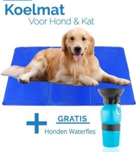 Koelmat Hond en Kat - Voor de Verkoeling van je Huisdier - XL Koelmat voor Honden en Katten - 90x50CM - Binnen en Buiten - Hondenmand - GRATIS Drinkfles voor Hond - voor Onderweg - Blauw
