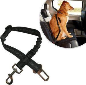 Luxe Autoriem Hond Hondengordel - Elastische en Verstelbare Auto Gordel - Riem voor Huisdieren - Veiligheidsgordel - One Size - Zwart