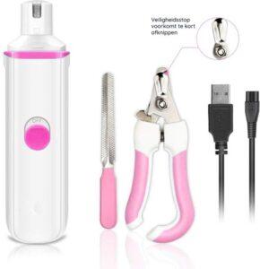 M-Iconic Elektrische Nagelvijl voor Huisdieren - Honden-katten-dieren - Nagelknipper met veiligheidsstop - Diervriendelijk en veilig - Geruisloos - USB oplaadbaar - Inclusief Nagelknipper & Nagelvijl - Roze