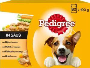 Pedigree Adult Maaltijdzakjes Voordeelpak - Vlees & Gevogelte in Saus - Hondenvoer - 80 x 100g