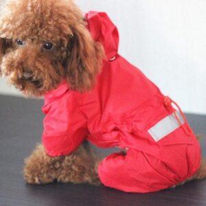 WiseGoods - Honden Regenjas - Reflecterende Regenjas Voor Honden - Zacht Ademende Honden Kleding - Rood - S