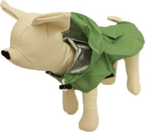 bontjesvoorhondjes Honden regenpak groen - L ( rug lengte 29 cm, borst omvang 39 cm, nek omvang 32 cm )
