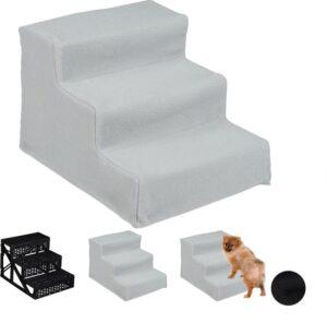 relaxdays hondentrap 3 treden - trapje voor honden - opstapje hond - binnen - hondentrapje grijs
