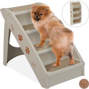 relaxdays hondentrap auto - inklapbaar - opstapje voor honden - 4 treden - trapje hond grijs