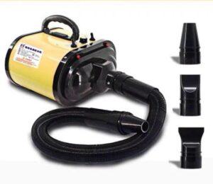 Buxibo Super Krachtige Hondenföhn 500W-3400W - Waterblazer met Verstelbare Kracht en Temperatuur - Hondenfohn met 2 Motoren en Windsnelheid tot 80M-S - Inclusief 3 Opzetstukken - Geel