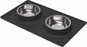 Dinerset hond & kat - Voerbak met anti-slip mat - Klein huisdier - S - Drinkbak - Placemat - BPA-vrij - RVS - Anti-mors - Honden - Katten - Donkergrijs