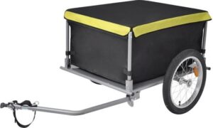 Fietskar Zwart met Tas 2 wielen 65kg - Aanhangwagen Fiets met opbergzak - Fiets bagage kar - Hondenfietskar
