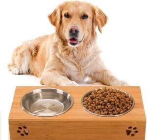 Fluffyfood Voerbak Hond met Standaard - Hondenvoerbak - Drinkbak - Voederbak - Bamboe - Rvs