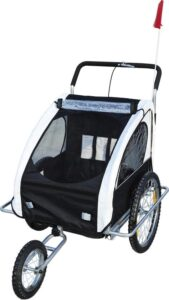 HOMCOM Fietskar EN hardloop buggy 2-in-1 wit-zwart