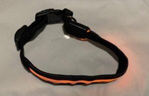 Halsband met led verlichting kleur oranje 3 standen hond
