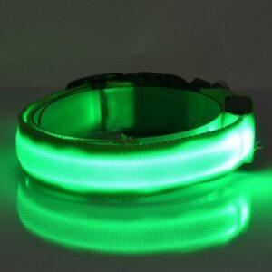Hondenhalsband met verlichting - Groen - Maat S
