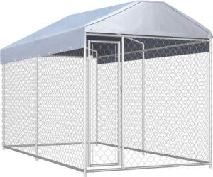Hondenkennel voor buiten - Gegalvaniseerd stalen frame en gaas - 382 x 192 x 235 cm - Met dak