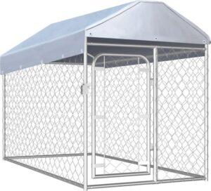 Hondenkennel voor buiten - RVS - Zilver - 200 x 100 x 100-125 cm - Met dak