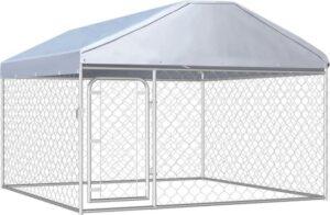 Hondenkennel voor buiten met dak 200x200x135 cm