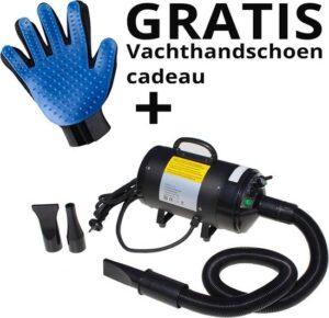 Krachtige Hondenfohn - Waterblazer met Draaiknop + vachtverzorgingshandschoen voor de Hond - Verstelbare Vermogen standen (500W tot 2400W) en Verstelbare Temperatuur