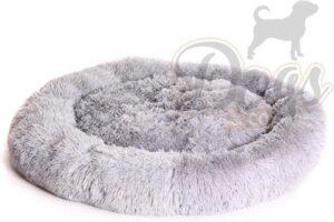 Luxe katten & hondenmand - Fluffy Donut - Heerlijk zacht - Licht grijs - 100 cm - Size L