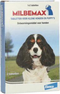 Milbemax Tabletten - Ontwormings tabletten voor honden - Puppy-Kleine honden - 2 tabl. - minder dan 5kg - Ontwormings Honden
