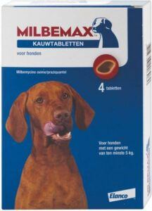 Milbemax kauwtablet ontworming hond large 4 tabletten
