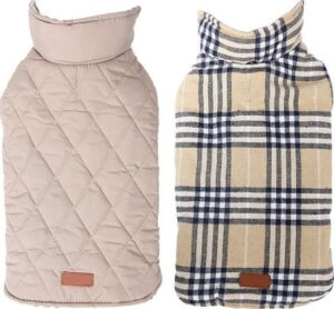 Stijlvol omkeerbaar winter hondenjasje in engelse stijl - BEIGE - SMALL (S)