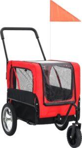 vidaXL Huisdieren fietskar 2-in-1 aanhanger & loopwagen rood en zwart