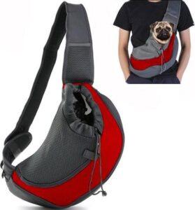 Dog 'n Go - Draagtas Hond - Rood - Maat S - Hondentas - Schoudertas - Reistas Hond - Stof