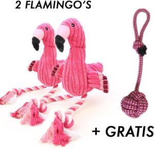 x Flamingo Hondenspeelgoed + Honden touw (30cm) - Puppy - Hondenspeeltjes - Intelligentie - Puppy speelgoed