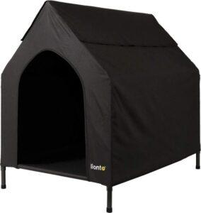 Rexa® Overdekte hondenmand 130 x 85 x 113cm (L) zwart - binnen & buiten Verhoogd hondenhok met dak - Hondenbed