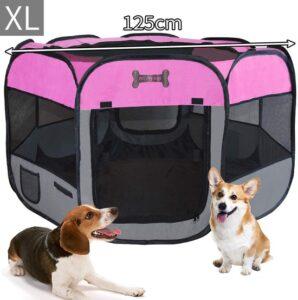 Delux puppyren - Puppy-box Opvouwbare puppy-speelpen voor honden - voor binnen of buiten 8 elementen, 125 x 125 x 64 cm Roze