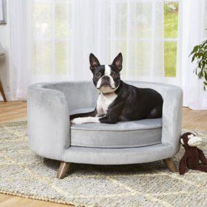 Enchanted Home Pet Sofa Rosie Grijs 68,5x68,5x35,5 cm - Luxe Design Bank Meubel voor Honden