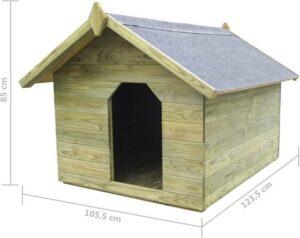 Hondenhuisje Tuin Hout met opening - Hondenhok Buiten - Honden huis - Honden hok