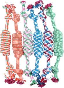 Hondenspeelgoed touw - blauw - rood - groen - oranje - bijten - sterk - interactief