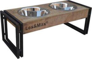 Lex & max feeder oslo -voerbakken standaard rvs bakken 24cm 67x34x26cm hout