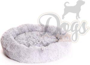 Luxe katten & hondenmand - Donut - Heerlijk zacht - Fluffy - Licht grijs - 70 cm - Size M