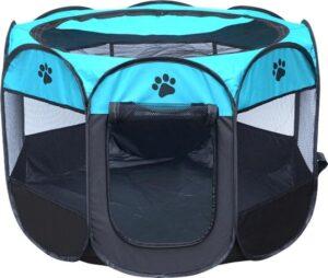 Puppyren - hondenren - puppytent draagbaar Maat L - Blauw - zwart