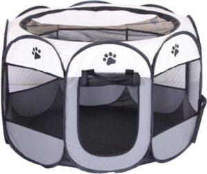 Puppyren opvouwbaar Grijs 90x90x60cm - Puppytent Dogs&Co