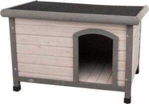 Trixie natura hondenhok classic plat dak grijs 85x60x58 cm