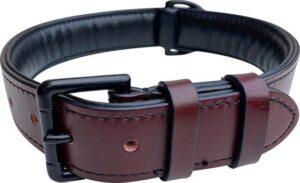 Brute Strength - Luxe leren halsband hond - Bruin met zwarte stiksels