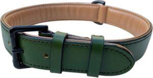 Brute Strength - Luxe leren halsband hond - Donker groen