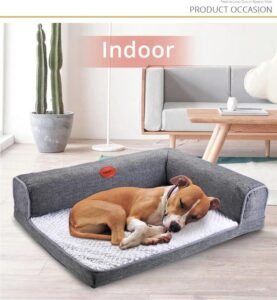 Deko Honden Sofa - Honden Bank -L- Grijs - 87 x 60 x 18 cm- Hondenkussen-Hondenbed Orthopedisch-Hondenmand