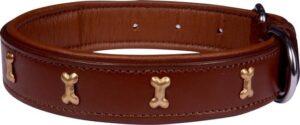 Dielay - Luxe Halsband voor Honden - Botten - Echt Leer
