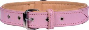 Dielay - Luxe Halsband voor Honden - Echt Leer - roze