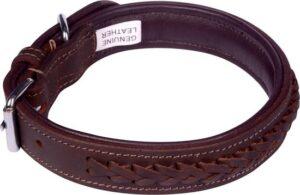 Dielay - Luxe Halsband voor Honden - Gevlochten - Echt Leer
