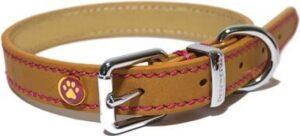 Luxury leather halsband voor hond leer luxe zand