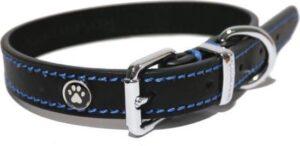 Luxury leather halsband voor hond leer luxe zwart 1,3x25-36 cm