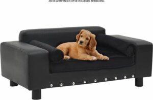 Stoere hondenbank met knopen - hondensofa - hondenmand - dieren bank - spikes - leer - velours - zwart